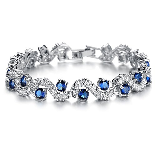 Opk Jewelry Platinum Plated Swarovski Elements Cubic Zirconia bracelet For women Wedding Jewelry,Blue - OPK