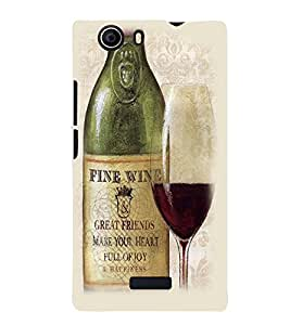 Printvisa Premium Back Cover Vintage Wine Bottle And Glass Design For Micromax Canvas Nitro 2 E311::Micromax Canvas Nitro 2 (2nd Gen)