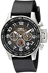 Invicta Men's 13803 Specialty Chronograph Brown and Translucent Dial Black Polyurethane Watch