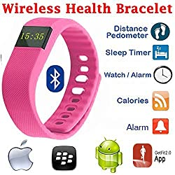 Evana (get free TTL/Trusttel Branded mobile pouch) TW64 OLED Display Bluetooth 4.0 Waterproof Smart Bracelet Watch, Support Pedometer / Sleep Monitoring / Call Reminder / Clock / Remote camera / Anti-lost Function, Compatible with iOS and Android System Watches for men women (Orange)