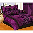 7 Pc Modern Black Purple Flock Satin Comforter Set Bed In A Bag   Queen Size Bedding