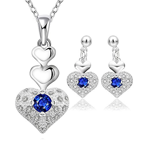 YELLOW-CHIMES-Rich-Royal-Heart-Austrian-Crystal-Blue-Pendant-Set-for-Women-and-Earrings