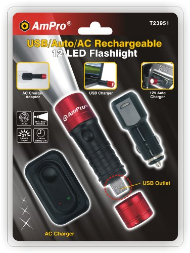 Ampro Tools T23951 12-Led Rechargeable Usb Flashlight Set, Red