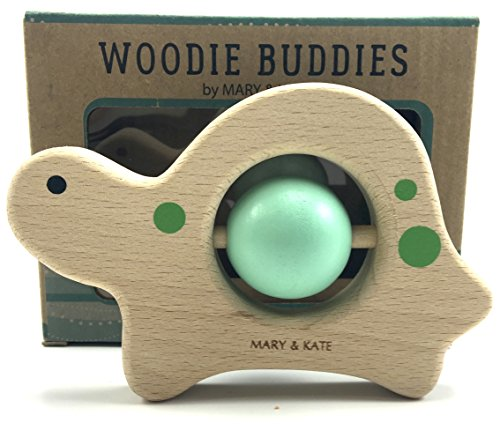 Baby-Toy-Wooden-Montessori-Unisex-Rattle-by-Mary-Kate-Woodie-Buddies-Classic-Collectible-Keepsake-Smooth-Sanded-Solid-European-Beech-Wood-and-Safe-Non-toxic-Water-Based-Colors-Theo-the-Turtle