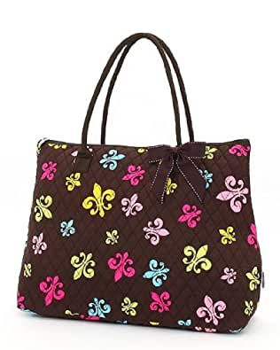 Belvah Extra Large Quilted Fleur De Lis Tote Handbag (Brown/Multi