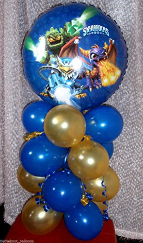 SKYLANDERS BALLOON TABLE DISPLAY PARTY DECORATION - AIR FILL NO HELIUM TABLE CENTERPIECE (free gift with purchase)