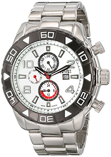 August Steiner Men's Swiss Quartz Watch with White Dial Analogue Display and Silver Alloy Bracelet AS8130SSW