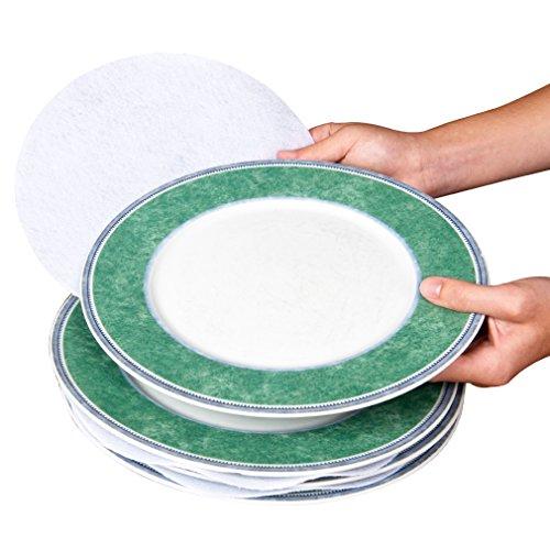 Evelots Plaque feutre Blanc intercalaires, 4,5, 6, 10, pour protéger la vaisselle de lot 48