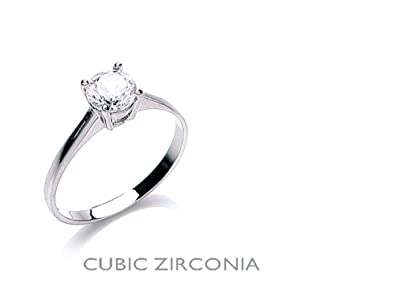 9ct White Gold 6mm Solitaire Ring - British Made - Sizes L - R