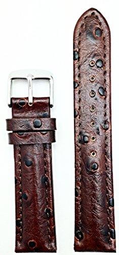 20-mm-bonito-marron-oscuro-grano-de-avestruz-medio-acolchada-cuero-reloj-banda