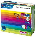 三菱化学メディア Verbatim DVD+R DL 8.5GB 1回記録用 2.4-8倍速 5mmケース 10枚パック ワイド印刷対応 ホワイトレーベル DTR85HP10V1