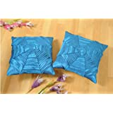 Shahenaz Home Shop Kyrah Plitted Web Poly Dupion Cushion Cover - Turquoise