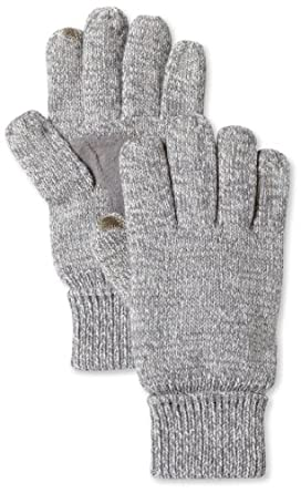 Isotoner Men's Smartouch Marled Palm Glove Fleece Lined, Oxford, One Size