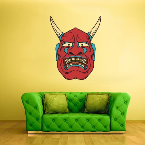 Full Color Wall Decal Mural Sticker Art Decor Asian Japan Japanese Chineese China Horror Ethnic Face Mask (Col213)