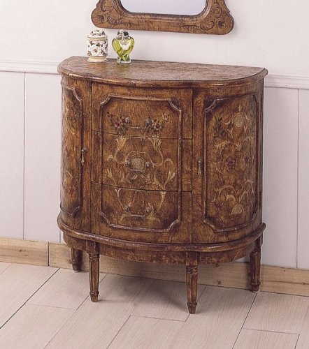 Cheap All new item Brown finish hand painted half moon shaped bombe chest console table with three drawers (AMB 4571)
