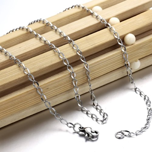 OPK-New Fashion Jewelry Stainless Steel Chain Necklace Simple Jewellery DIY Findings,2.3mm Width,18 Inch Lenght 1.35g Weight