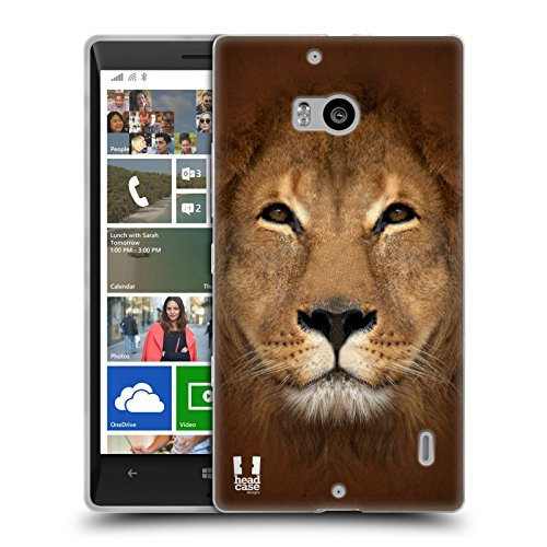 Head Case Designs Leone Volti Animali Cover Morbida in Gel per Nokia Lumia 930 Icon 929