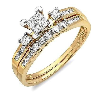 0.53 Carat (ctw) 10K Yellow Gold Round, Princess & Baguette Cut Diamond Ladies Engagement Ring Set 1/2 CT