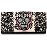 Loungefly Lace Skull With Fuchsia Wallet (Black/cream)