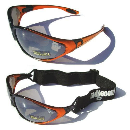 Orange Ladgecom All-Weather Sunglasses & Goggles with Head Strap for Cycling, Running & Ski Sports