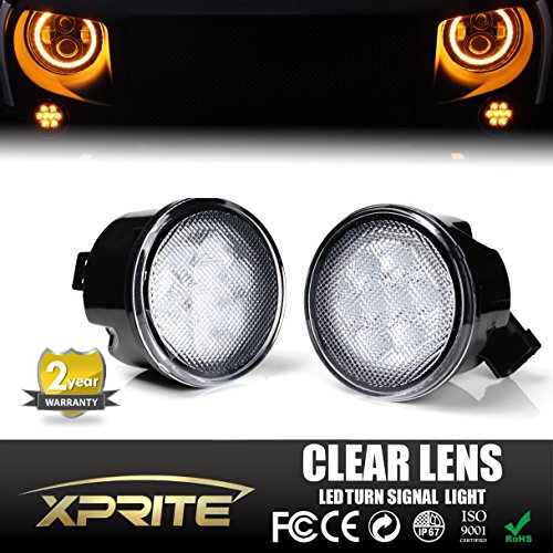 Xprite JK Wrangler Clear Lens with Yellow LED Front Turn Signal Light & Fender JK Parking Light Assembly