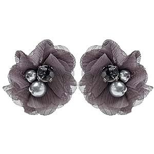 Schmuck-Art Damen-Ohrstecker Softflower grau 29097