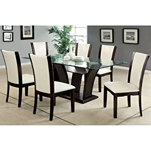 com manhattan dark cherry finish glass top 7 piece dining table