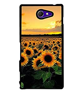 Fuson Premium 2D Back Case Cover Sunflower With white Background Degined For Sony Xperia M2 Dual D2302::Sony Xperia M2