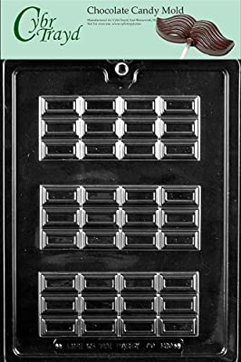 Cybrtrayd AO130 New Break Apart Bar Chocolate Candy Mold with Exclusive Cybrtrayd Copyrighted Chocolate Molding Instructions