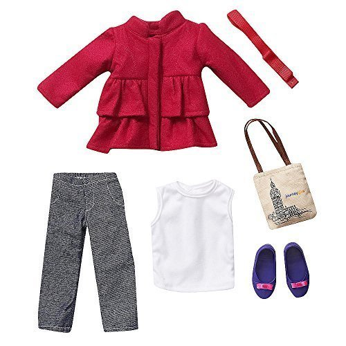Journey Girls 18 inch Doll Fashion Outfit - Pink Pea Coat with White Tank Top, Denim Pants, & Accessories by Toys R Us