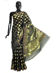 Black Jamdani Kora Silk Saree from Banaras with All-Over Zari Woven Circle, Leaf Border and Paisleys Aanchal -...