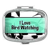 Rectangle Pill Case Trinket Gift Box I Love Heart Sports Hobbies Ba-Bu - Bird Watching