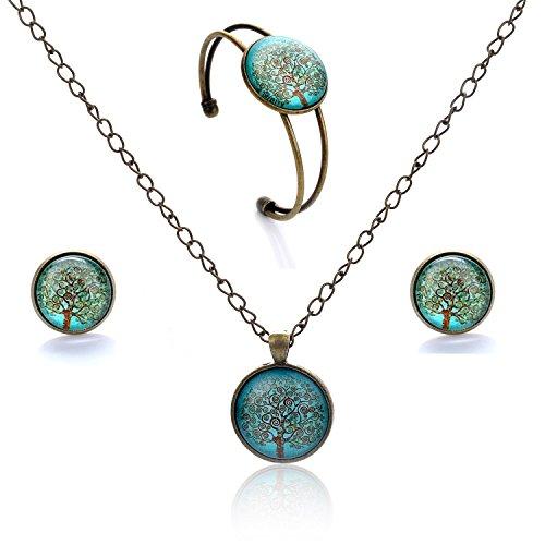 Lureme  Orecchini pendenti a disco serie gioiello prigioniera tempo braccialetto aperto bracciale e collana pendente set di gioielli per le donne e le ragazze (09000426) (albero della vita)