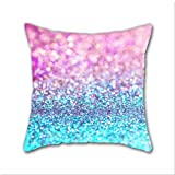Cotton Linen Throw Pillow, Decorative Pillows.? Pastel Sparkle- Photograph Of Pink And Turquoise Glitter Cotton Linen Square Decorative Throw Pillow Case Cushion Cover 18 x 18 Inch