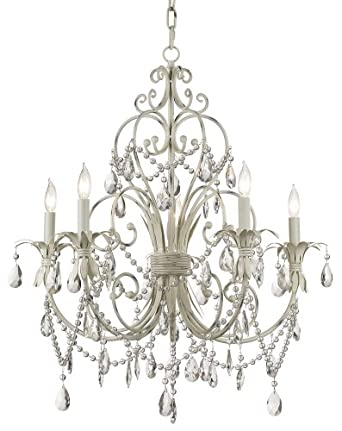 Chateau Vieux Collection Antique White Five Light Chandelier - Kathy