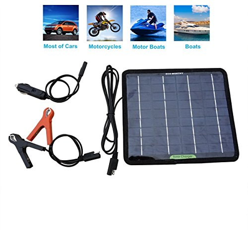 ECO-WORTHY 12 Volts 5 Watts Portable Power Solar Panel Battery Charger Backup for Car Boat Batteries (12 Volt Battery Solar Charger compare prices)