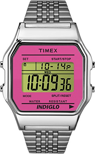 Timex TW2P65000 T80 Classic  - Wristwatch for Women. Stainless steel wristband. Pink face.