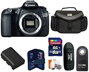 Canon EOS 60D SLR Digital Camera Body + Large Vidpro Camera and Lens Case (Black) + Extra High Capacity Lithium-Ion Battery Pack + Transcend 8 GB Class 10 SDHC Memory Card + Card Reader + Memory Card Case + Zeikos Shutter Release + Digital Camera Cleaning Kit.
