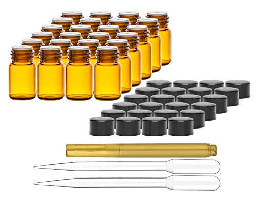 Culinaire 24 Pack Of 2 ml Amber Glass Bottles with Orifice Reducers and Black Caps & (2x) 3 ml Droppers with Gold Glass Pen included (E Juice Bottles Empty compare prices)