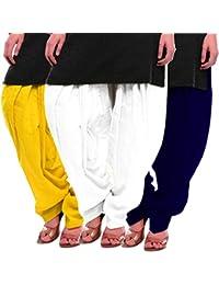 Women's Yellow-White-Blue Cotton Patiala Salwar