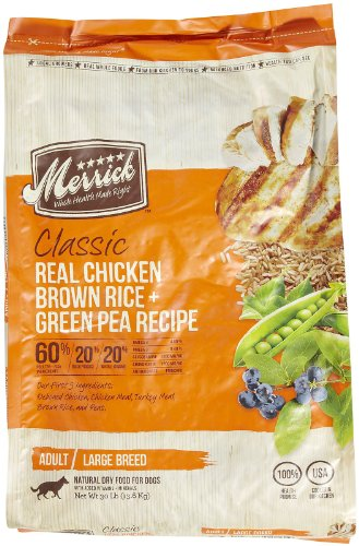 Merrick Classic 30-Pound Large Breed Real Chicken, Brown Rice And Green Pea Dog Food, 1 Bag