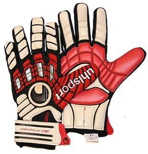Uhlsport Akkurat Absolutgrip Goalkeeper Gloves, White/Red/Black, 8