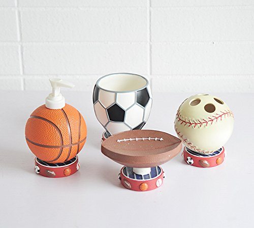 Brandream Cute Sports Basketball Bathroom Accessories Cartoon Resin Bathroom Set 4pcs Home