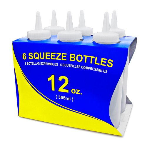 New Star 26146 Plastic Squeeze Bottle, 12-Ounce, Clear, Set Of 6 front-200883