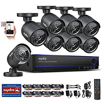 Sannce 16CH 720P Security Camera System with 8x 900TVL Superior Night Vision CCTV Cameras (P2P Technology, Motion Detection & Alarm Push, Vandal and Weather-Proof Body)