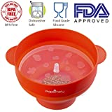 Microwave Popcorn Maker & Popper by PopSimply, Fast and Easy Homemade Popcorn, FDA Approved, BPA Free, 100% Quality Food Grade Silicone, Convenient Handles, Collapsible Bowl, Red Color, Healthy & Fast