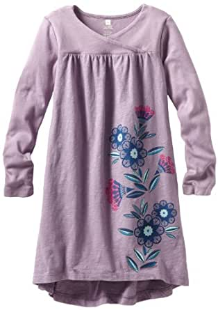 Tea Collection Little Girls' Gazania Wrap-Neck Dress, Antique Purple, 3