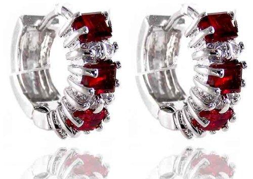 Red Garnet Ruby Topaz 18K White Gold Plated Dainty Emerald Cut Earrings-Created Gemstone Velvet bag