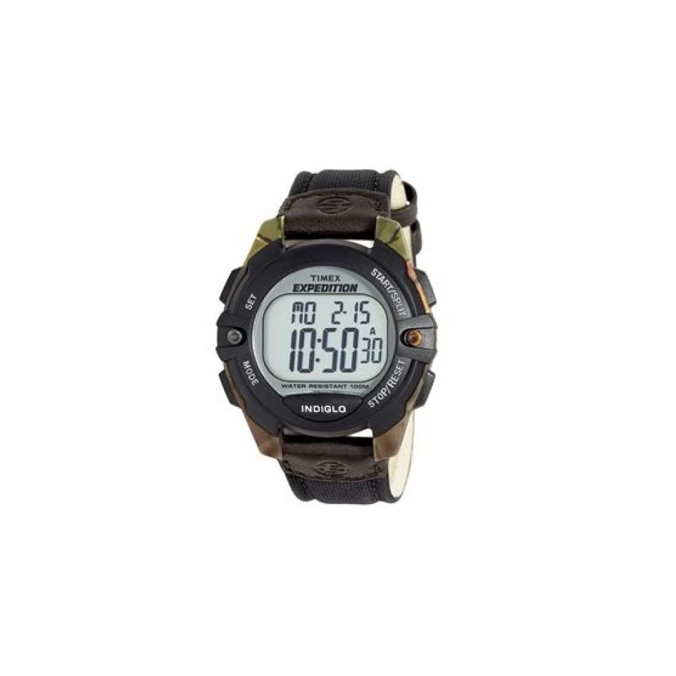 Timex H7Y863 Mens Black/Camouflage Digital Expedition Sport Watch with Black Nylon and Genuine Leather Strap