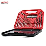 Apollo 30 Piece DIY Mixed Drill Bit and Screwdriver Bit Set - Includes Most Popular Metric sized Drill Bits used for working with Steel, Wood & Masonry, Includes Counter-Sink and 10 most common Screwdriver Bits. In Compact Storage Box
